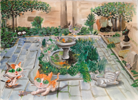 Ilustracion de Calçot the cathedral cat, jardines