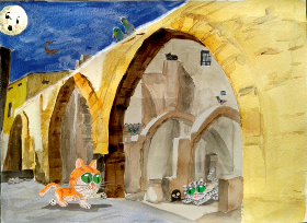 Ilustracion de Calçot the cathedral cat, arcos judios