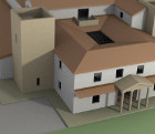Volumetric color scale model of a Roman domus, model for exhibition.